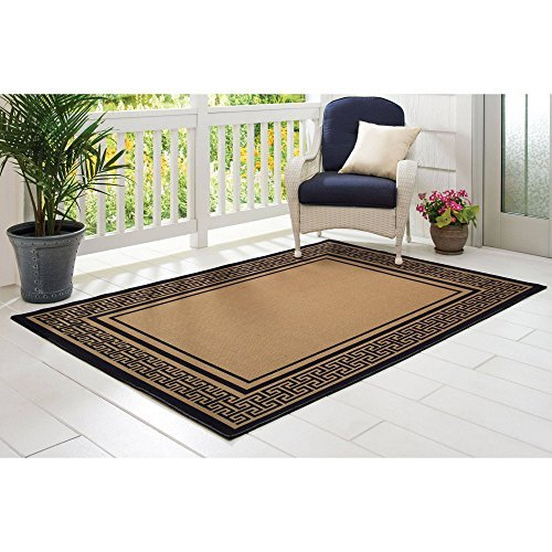 BETTER HOMES AND GARDENS Red Greek Key Indoor/Outdoor Rug...