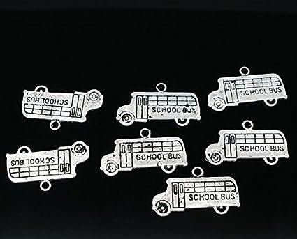 10 pcs DIY Jewelry Making Vintage Silver Metal Bus Car Vehicles Pendants Charms