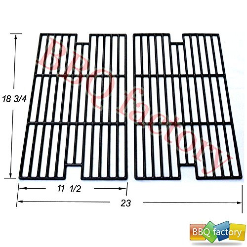 bbq factory Replacement Porcelain coated Cast Iron Cooking Grid Grate JGX012 for Select Kenmore and Sams Gas Grill Models, Set of 2 by bbq factory