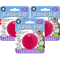 Pet Qwerks 3 Pack of Cat Babble Ball with Catnip Infused, Interactive Cat Toy