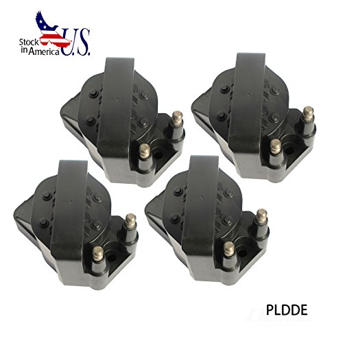 PLDDE Set of 4 New Ignition Coils on Plug Packs With Boots For 90-95 Chevrolet Corvette ZR1 5.7L 93 Cadillac Allante 94-99 DeVille 93-99 Eldorado/Seville 4.6L 95-99 Oldsmobile Aurora 4.0L V8 ()