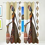 Ethel Ernest Fantastic African Women Ethnic Style Window Blackout Curtains With Grommet, 55W x 84L Inch, Darkening Blind Insulated Sun-proof Curtains for Bedroom,Living Room,Including 2 Panels