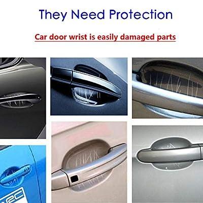 ZaCoo 10 Pcs Carbon Fiber Car Door Cup Protection Film Auto Door Handle Paint Scratch Protection Car Door Cup Guard (Silver): Automotive