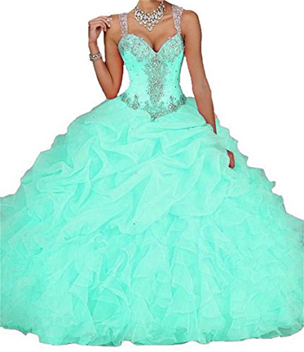 Quinceanera Dresses (Dydsz Women's Quinceanera Dresses Prom Party Dress Beaded Ball Gown Cheap D18 Mint 8)