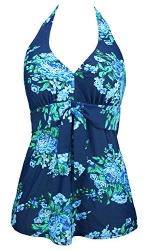 COCOSHIP Blue & Navy Antigua Floral Women's Vintage Tie Halter Swim Top Chic V-Neck Modest Tankinis Swimwear 16(FBA) - Halter Womens Tie