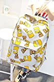 Preppy Style Fasion Canvas Schoolbag Cartoon Simpson Shoulders Bag Women's Backpack (White)