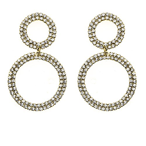 14K Gold, Rose Gold, or Rhodium Plated Double Circle Link Dangle Earrings with White Crystals ()