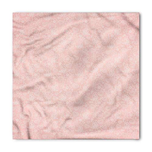 Pale Pink Bandana, Cute Flowers Spiral Leaves Heart Figures Lovers Romantic Girls Ornate Design, Printed Unisex Bandana Head and Neck Tie Scarf Headband,Coral White M 100cmx100cm