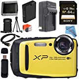 Fujifilm FinePix XP90 Digital Camera (Yellow) 16500466 + Sony 64GB SDXC Card + Lithium Ion Battery + External Rapid Charger + Memory Card Wallet + Card Reader + Fibercloth + HDMI Cable Bundle