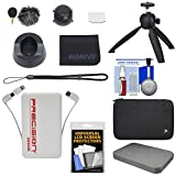 REMOVU K1 Microphone Accessory Kit with 2 Windscreens, Charging Cradle, Lens Cover, Strap, LCD Protector & Cloth + Power Bank + Tripod + Case Kit