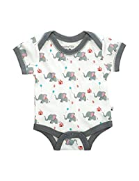 Babysoy 100% Organic Cotton Short Sleeve Elephant Pattern Bodysuit/Onesie