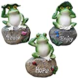 Frog Garden Statues – 3 Pack Lanker 5 Inch Frogs Sitting on Stone Sculptures Outdoor Decor Fairy Garden Ornaments Review