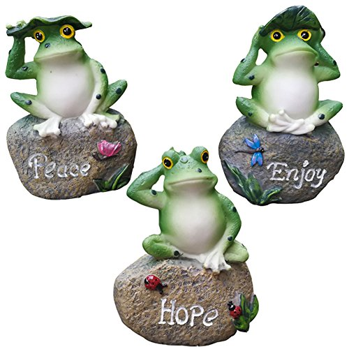 (Frog Garden Statues – 3 Pack Lanker 5 Inch Frogs Sitting on Stone Sculptures Outdoor Decor Fairy Garden Ornaments)