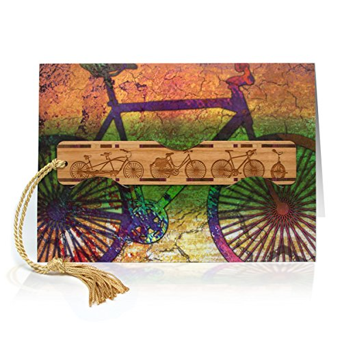Greeting Card With Artwork of a Bike Combined With Solid Wood Bookmark - A Fun Gift and Card - One Card For Gift All