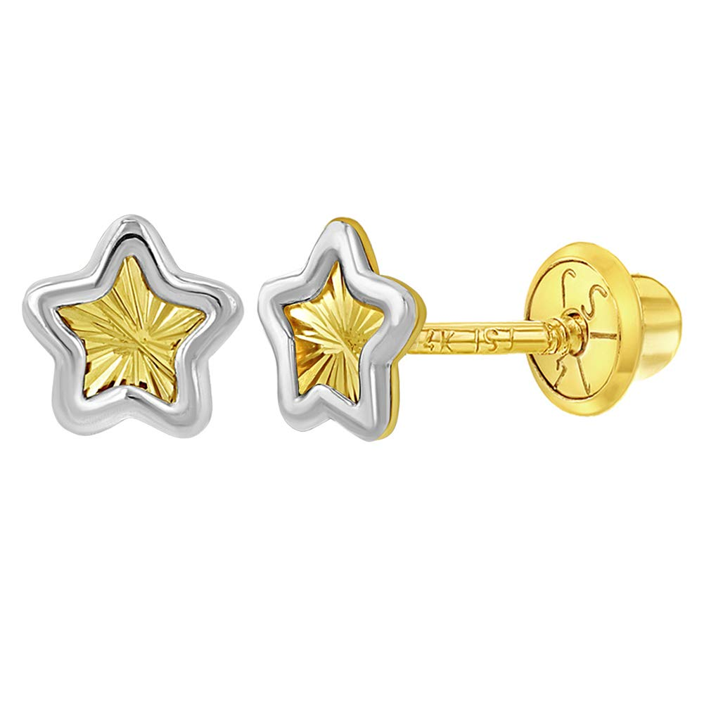 14k Yellow and White Gold Two Tone Star Screw Back Earrings for Toddlers or Girls