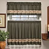 """Embroidered Mini-Plaid Valance - Perfect Plaid Curtain for Kitchen, Bathroom, and Bedroom - Small Check Plaid with Acorn Embroidery (60"""" x 12"""" Valance, Green)"""