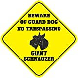 Giant Schnauzer Beware Of Guard Dog No Trespassing Crossing Metal Novelty Sign
