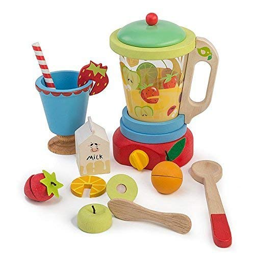 12 Pc Wooden Smoothie Maker - Includes Blender, Milk Carton, Various Fruits, Straw, Cup and Utensils - Made with Premium Materials - Encourages Pretend Play and Communication Skills - For Children 3+