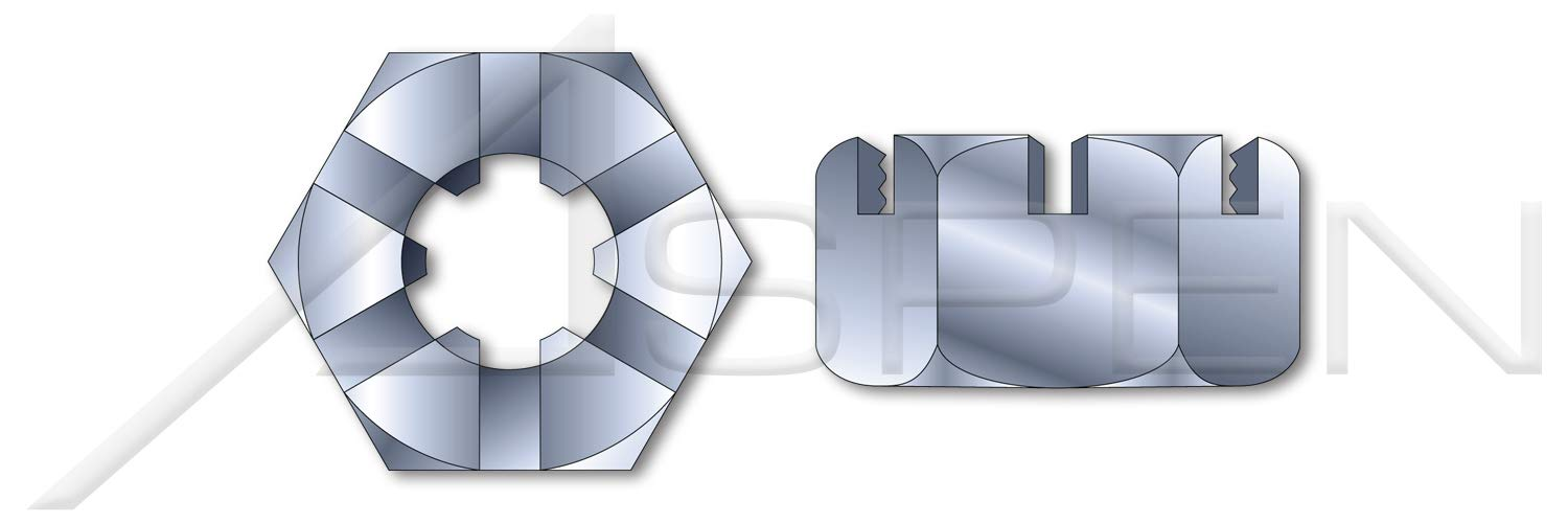 (250 pcs) 7/8''-9, THK=3/4'', A/F=1-5/16'', Slotted Hex Nuts, Finished Nut Pattern, Steel, Zinc Plated