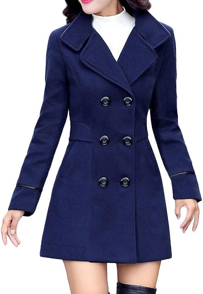 Wtouhe Trench-Coat Femme 2020 Nouveau Manteaux de Laine /À Double Doutonnage Chaud Slim Manches Longues Tunique Coupe Slim /Él/égant Hiver Classique Outwear Veste Mode Parkas