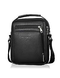 Bolso de Hombro,Popoti Bolso de Cuero Hombres Bolso de Crossbody Escuela Vintage Mochila del Bolso de Mensajero Multifuncional Messenger Bag (Negro)