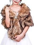 FXmimior Bridal Faux Fur Bridal Wrap Shrug Stole Shawl Cape Wedding Faux Fur Wrap (brown)