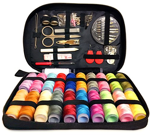 """Deluxe Sewing Kit – Set Includes 97 Accessories & 24 Color Assorted Thread Spools – Compact & Lightweight - Dimensions 7.87"""" x 5.70"""" x 1.37"""" – Ideal For Mending, Repairing & DIY Crafting"""