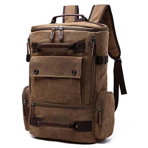Canvas Backpack for Men Vintage Canvas School Daypack Retro Unisex Hiking Travel Rucksack fits 15