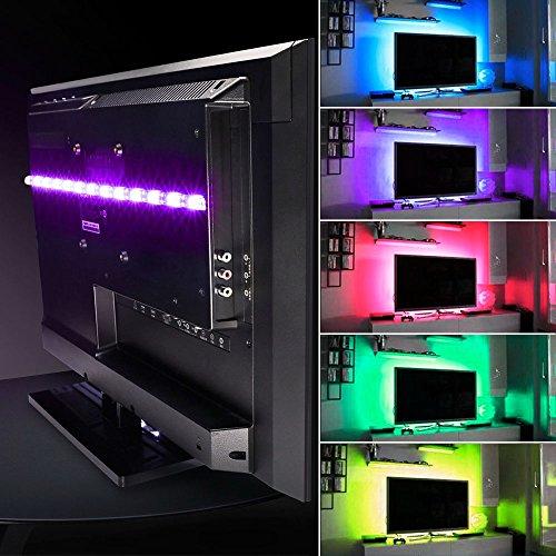 Amazon.com E-More Bias Lighting for HDTV Multi Color RGB LED Strip USB TV Backlighting Home Theater Accent lighting 35.4  Led Strip Light Indoor Home ... & Amazon.com: E-More Bias Lighting for HDTV Multi Color RGB LED ... azcodes.com