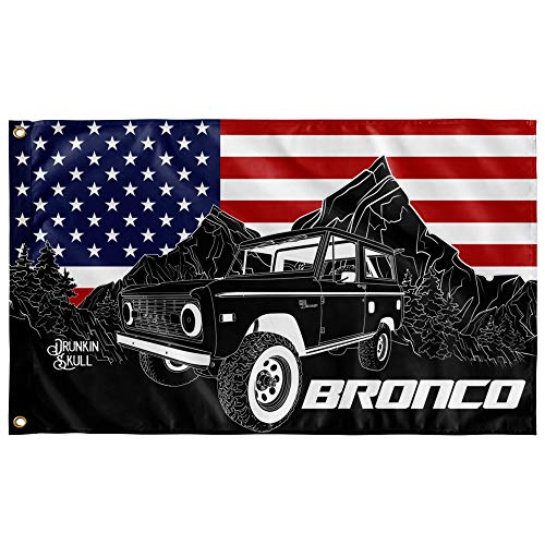 Ford Early Bronco EB Off-Road Truck, One Sided American Flag 3x5