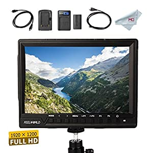 FEELWORLD FW760 7 Inch IPS On-camera Monitor, 1920x1200 HD Field Monitor with 4K HDMI Input Histogram Focus Zebra for Camera DSLR Camcorder