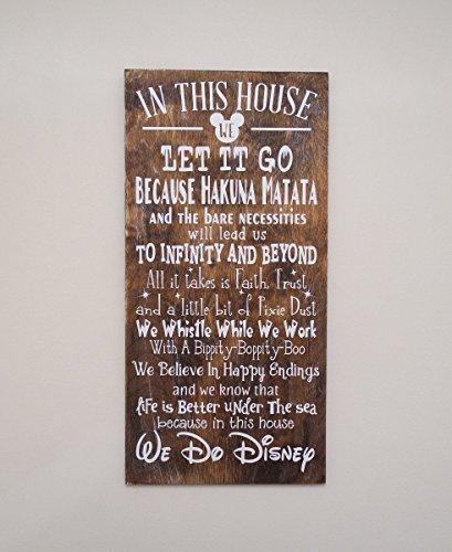 In This House We Do Disney Wooden Sign, Disney Sign, Shabby Chic Disney Quote Sign, We Do Disney, Home Decor, Children's Room Decor