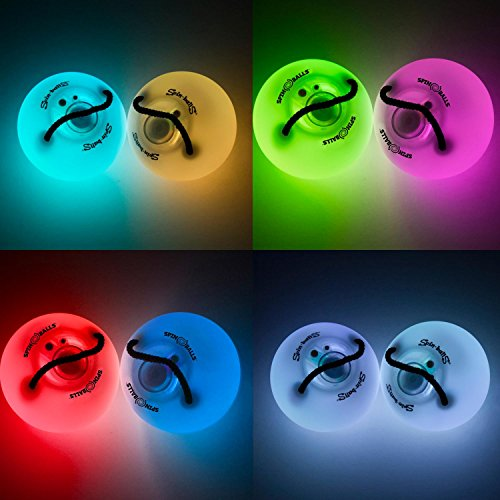 Fun In Motion - Spinballs - Flow Poi Balls - Spinning LED Light Toy - Light Up Spinners - Pair by SPIN BALLS (Image #1)