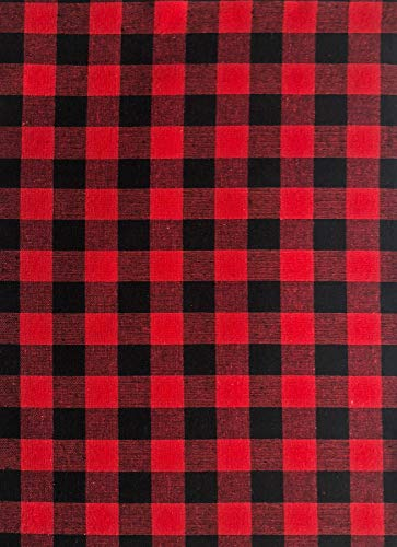 Lintex Red and Black Buffalo Holiday Cottage Check Fabric Placemat Set, 100% Cotton, Christmas Rustic Buffalo Plaid Placemats, Set of 4 Fabric Place ()