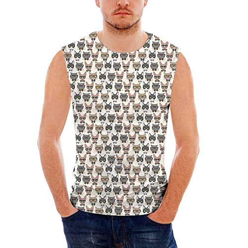 Mens Sleeveless Cat T- Shirt,Hipster Nerd Characters with Vintage Sunglasses Int