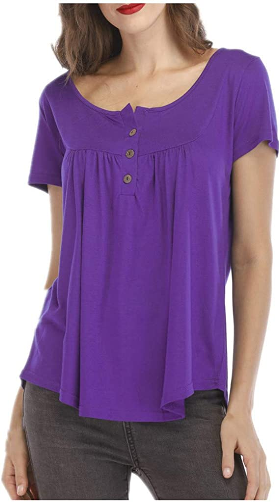 Teresamoon Womens Button Short Sleeve Crewneck Tunic T Shirts Casual Tops