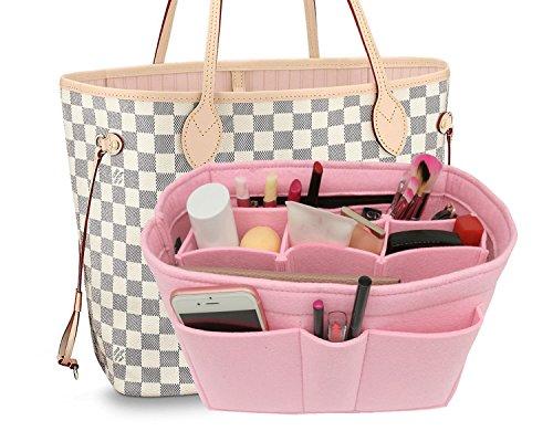 Felt Insert Fabric Purse Organizer Bag, Bag Insert In Bag with Zipper Inner Pocket Pink L