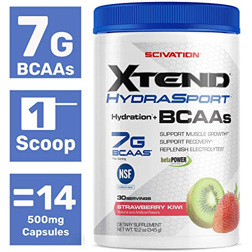 Scivation Xtend Hydrasport BCAA Powder, Branched Chain Amino Acids, BCAAs, Zero Sugar Electrolyte Drink Powder + Hydration, Strawberry Kiwi, 30 Servings