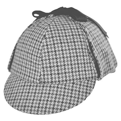 (Jacobson Hat Company Men's Sherlock Holmes Cotton Cap, Black/White,)