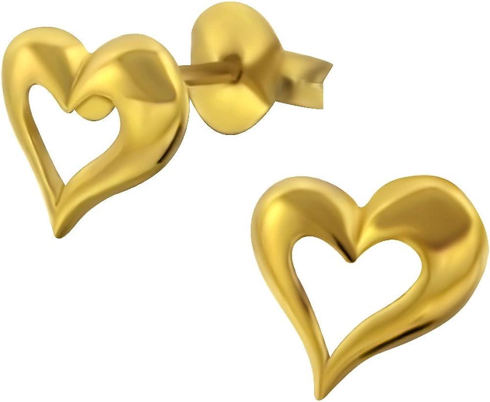 Laimons Pendientes para mujer Corazón Dorado brillante Plata de ley 925