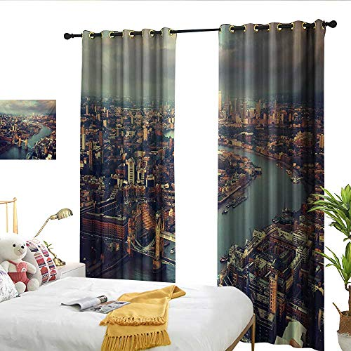 (WinfreyDecor London Sliding Curtains Panoramic Picture of Thames River and Tower Bridge Famous Cityscape for Living, Dining, Bedroom (Pair) W108 x L84)
