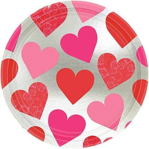 Amscam Valentines Day Key to Your Heart Metallic Round Paper