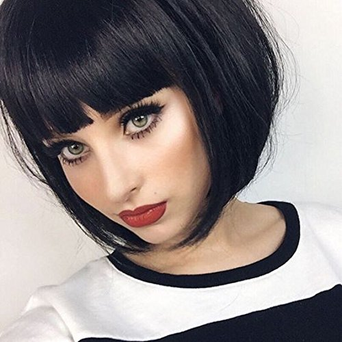 Synthetic Wig For Black Women Short Bob Mia Wallace Wig For Women None Lace With Bang Black Color - Milano Anime Costumes