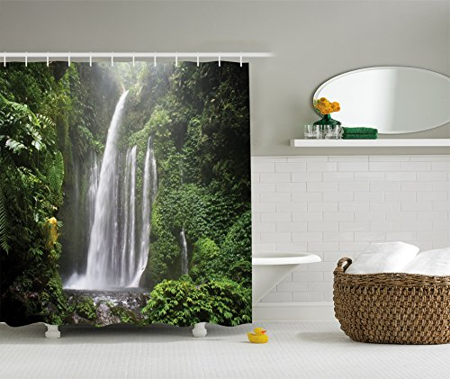 Ambesonne Waterfall Decor Collection, Rainforest Waterfall in Indonesia Tropical Trees Adventure Picture, Polyester Fabric Bathroom Shower Curtain Set with Hooks, Green by Ambesonne