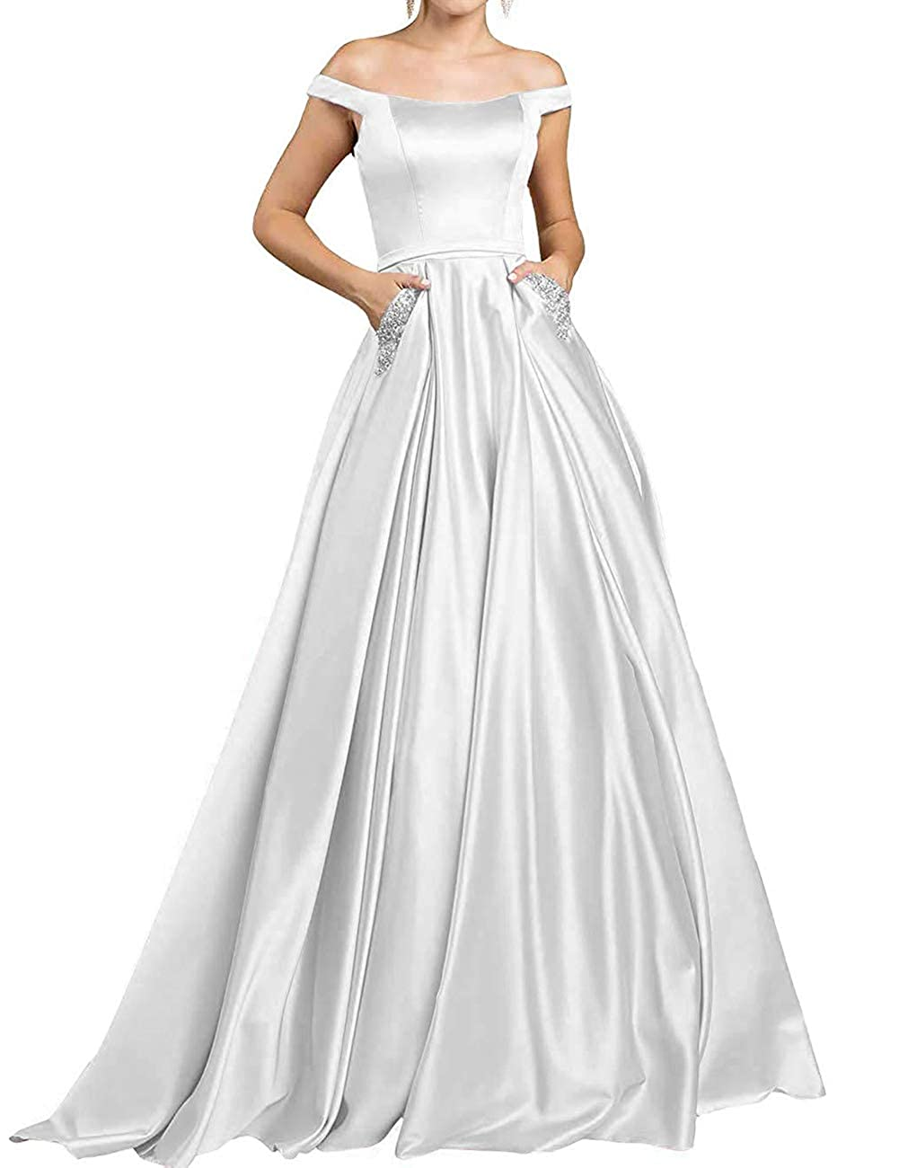 Ivory JAEDEN Prom Dresses Long Formal Evening Gowns with Pocket Off The Shoulder Prom Dress A line Evening Dresses