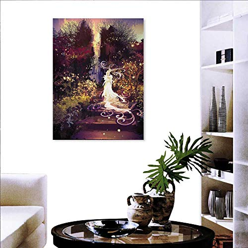 - familytaste Fantasy Landscape Wall Stickers Surreal Silhouette of Elf Lady Figure on Stair in Garden Expressionist Artwork Wall Stickers 16