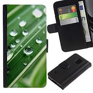 Billetera de Cuero Caso Titular de la tarjeta Carcasa Funda para Samsung Galaxy S5 V SM-G900 / Green Water Drop Macro Leaf / STRONG