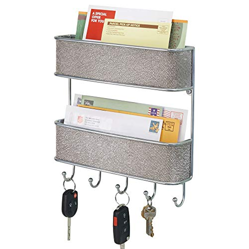 mDesign Wall Mount Metal Woven Mail Organizer Storage Basket - 2 Tiers, 6 Hooks - for Entryway, Mudroom, Hallway, Kitchen, Office - Holds Letters, Magazines, Coats, Leashes, Keys - Chrome/Light Gray (Chrome Letters Walls For)