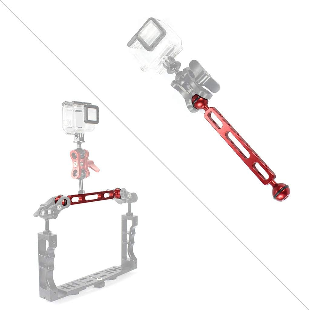 Aluminum Alloy Dual Balls 7.87 inch 20cm Arm for Underwater Torch//Video Light Ball Diameter: 2.54cm Red Solovley Professional Video Accessories