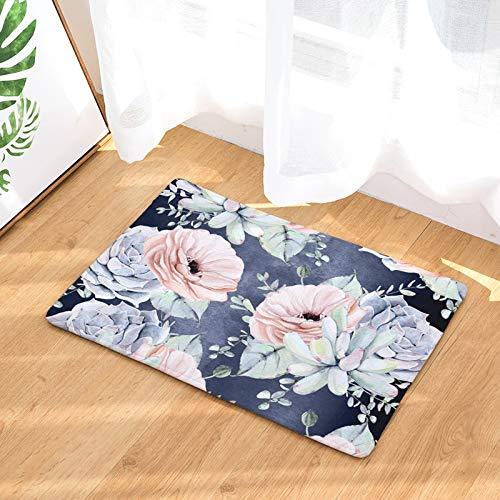 (YQ Park Non-Slip Doormat Tibetan Blue Fleshy Flowers Coral Fleece Indoor Outdoor Kitchen Floor Rug Front Door Mat)